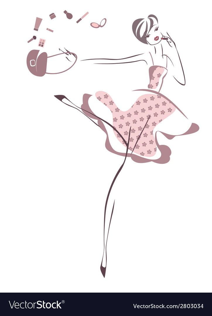 Hurrying girl isolated on white background vector | Price: 1 Credit (USD $1)