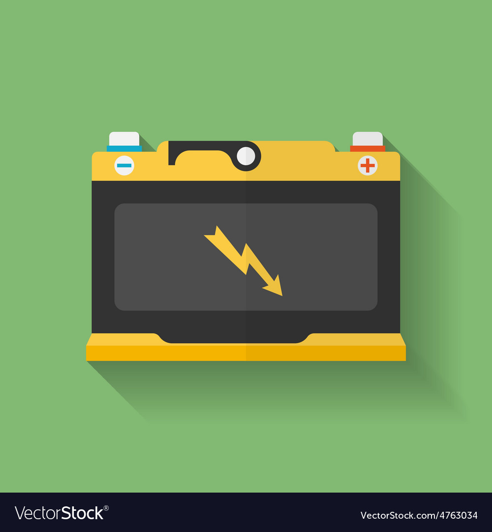 Icon of car accumulator battery flat style vector   Price: 1 Credit (USD $1)
