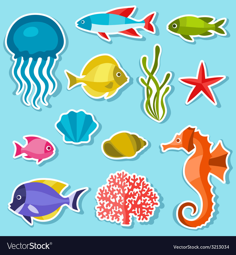 Marine life set of sticker objects and sea animals vector | Price: 1 Credit (USD $1)