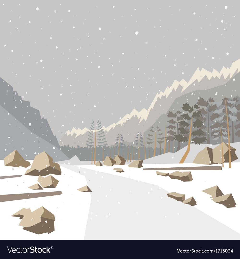 Mountain winter snow landscape vector | Price: 3 Credit (USD $3)