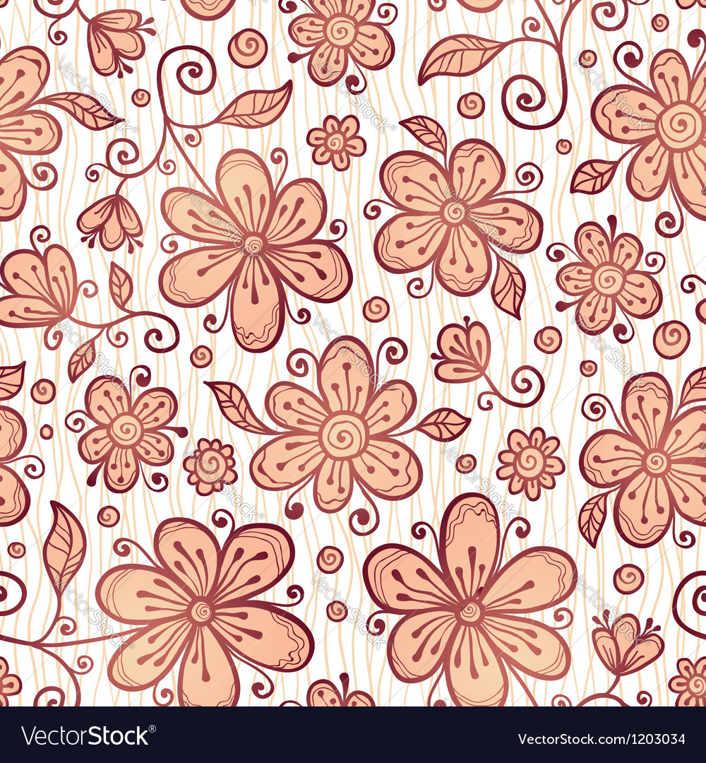 Ornate doodle flowers background vector | Price: 1 Credit (USD $1)