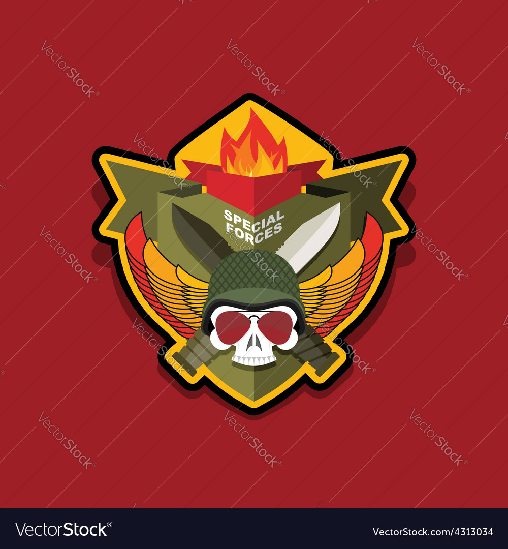 Special forces emblem military logo embroidery vector | Price: 1 Credit (USD $1)