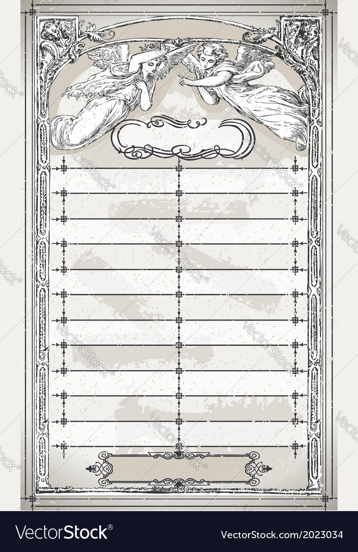 Vintage page menu with angels vector | Price: 1 Credit (USD $1)