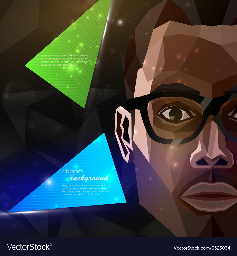 With an african american man face in polygonal vector | Price: 1 Credit (USD $1)