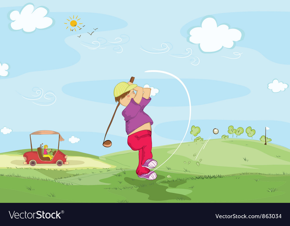 Young golfer vector | Price: 1 Credit (USD $1)