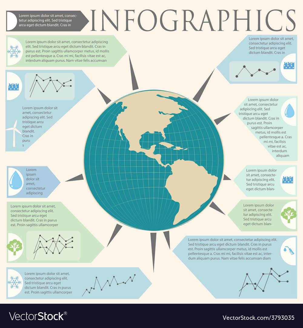 An infochart with a globe vector | Price: 1 Credit (USD $1)