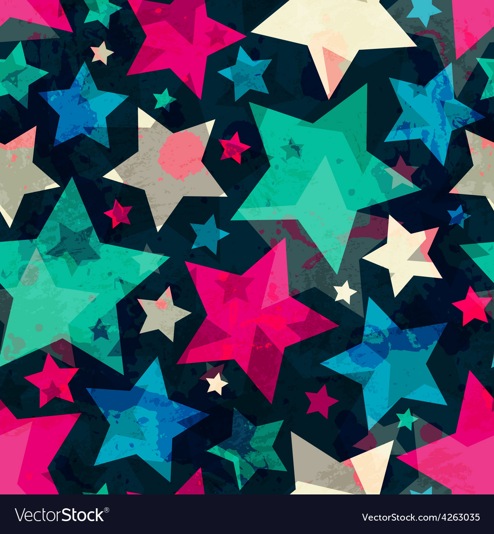 Bright star seamless pattern with grunge effect vector | Price: 1 Credit (USD $1)