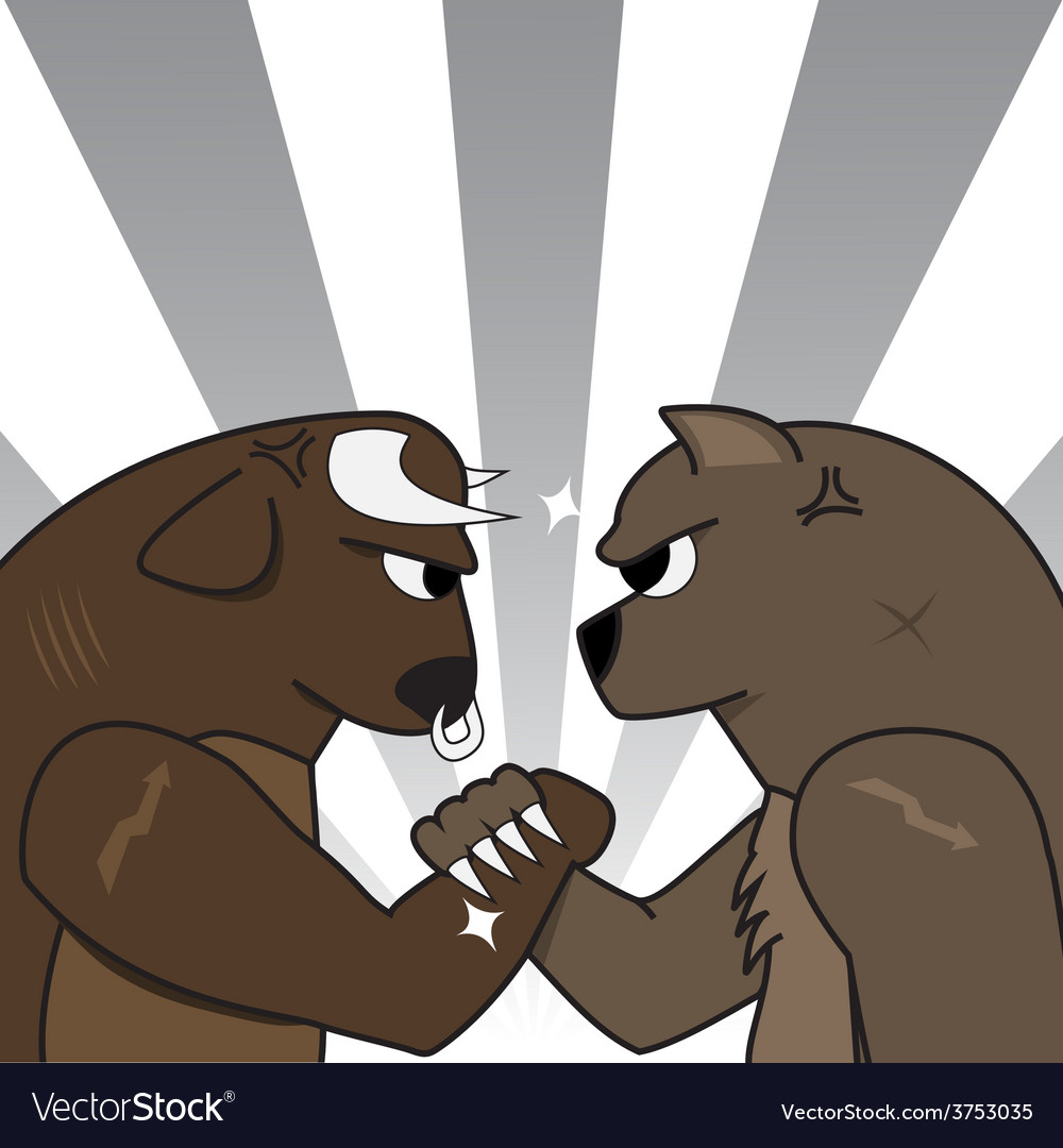 Bull bear preparing to fight vector | Price: 1 Credit (USD $1)