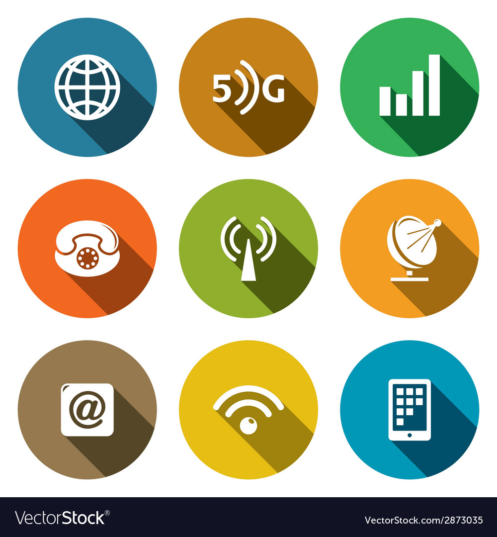 Communication and connection flat icons set vector | Price: 1 Credit (USD $1)