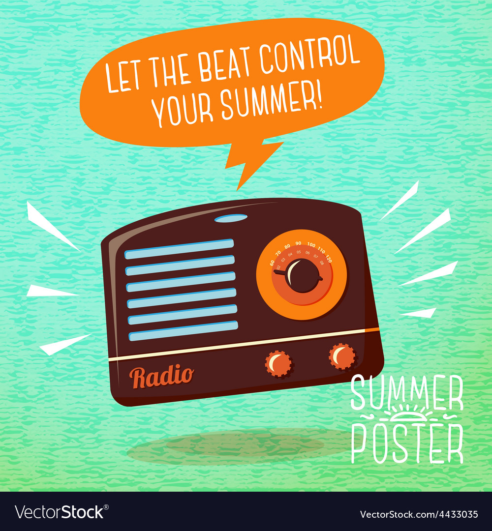 Cute summer poster - radio playing cool music vector | Price: 3 Credit (USD $3)