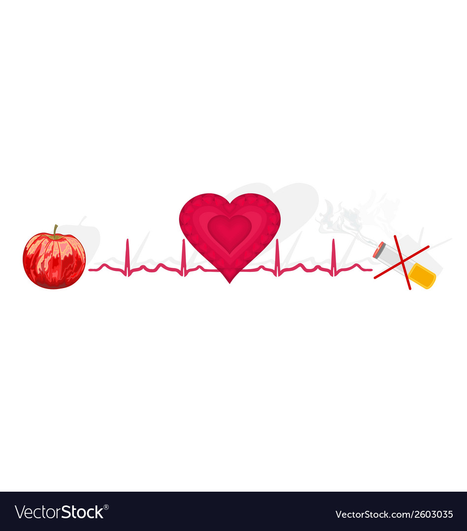 Education ekg heart apple ok cigarette no vector | Price: 1 Credit (USD $1)