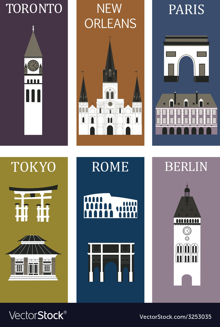Famous cities vector | Price: 1 Credit (USD $1)