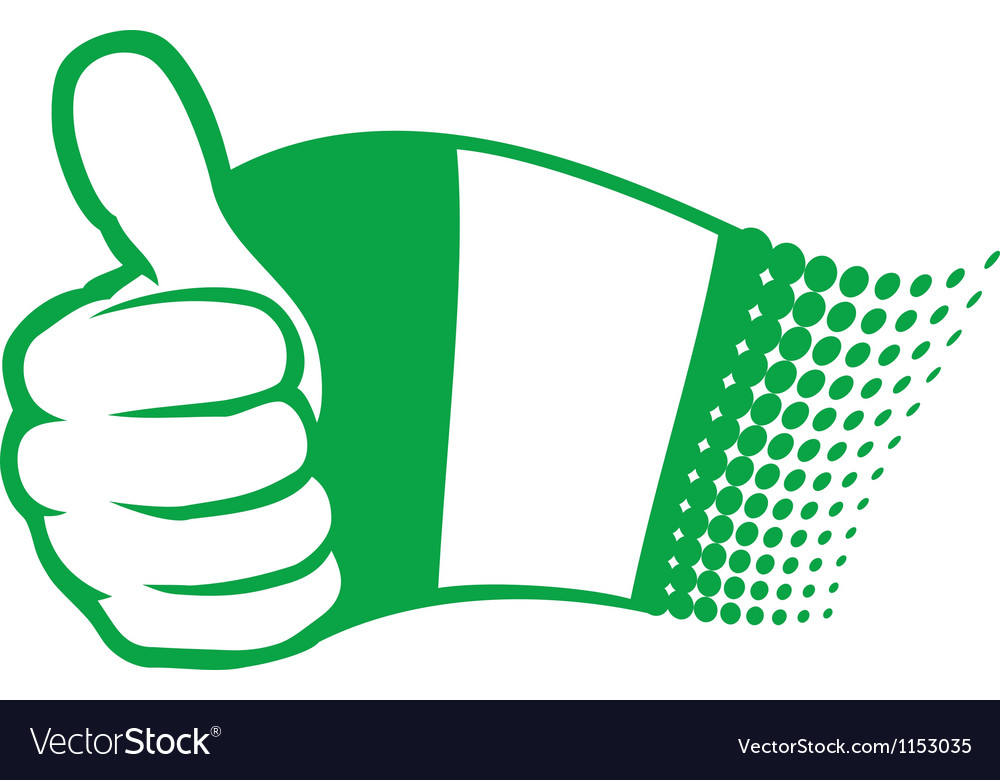 Flag of nigeria and hand showing thumbs up vector | Price: 1 Credit (USD $1)