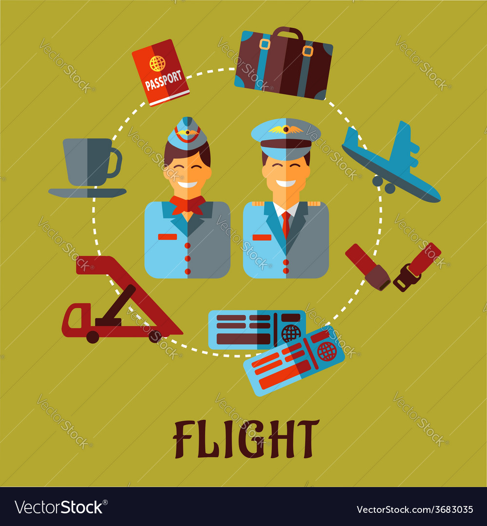 Flat air traveling infographic with text flight vector | Price: 1 Credit (USD $1)