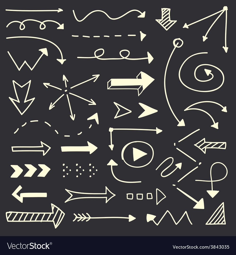 Hand drawn arrows sketch set vector | Price: 1 Credit (USD $1)