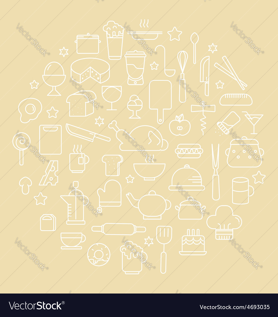 Kitchen and food outline icons vector | Price: 1 Credit (USD $1)