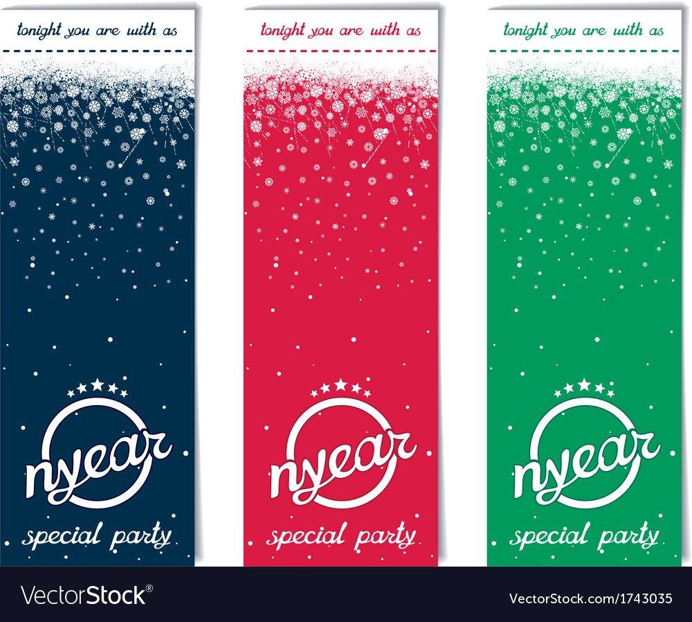 Three vertical ticket for christmas party vector | Price: 1 Credit (USD $1)