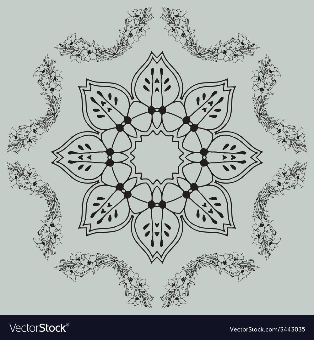 Vintage pattern frame vector | Price: 1 Credit (USD $1)