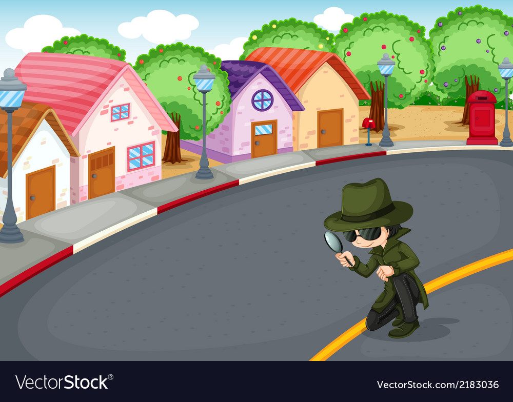 A detective at the road vector | Price: 1 Credit (USD $1)