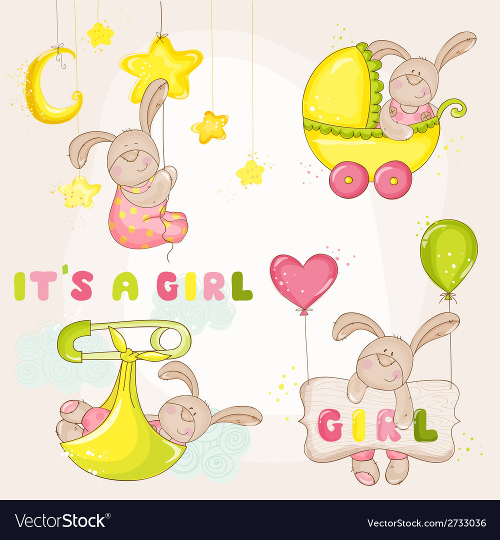 Baby bunny set - for baby shower vector | Price: 3 Credit (USD $3)