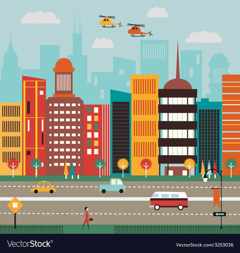 Big city street vector | Price: 1 Credit (USD $1)