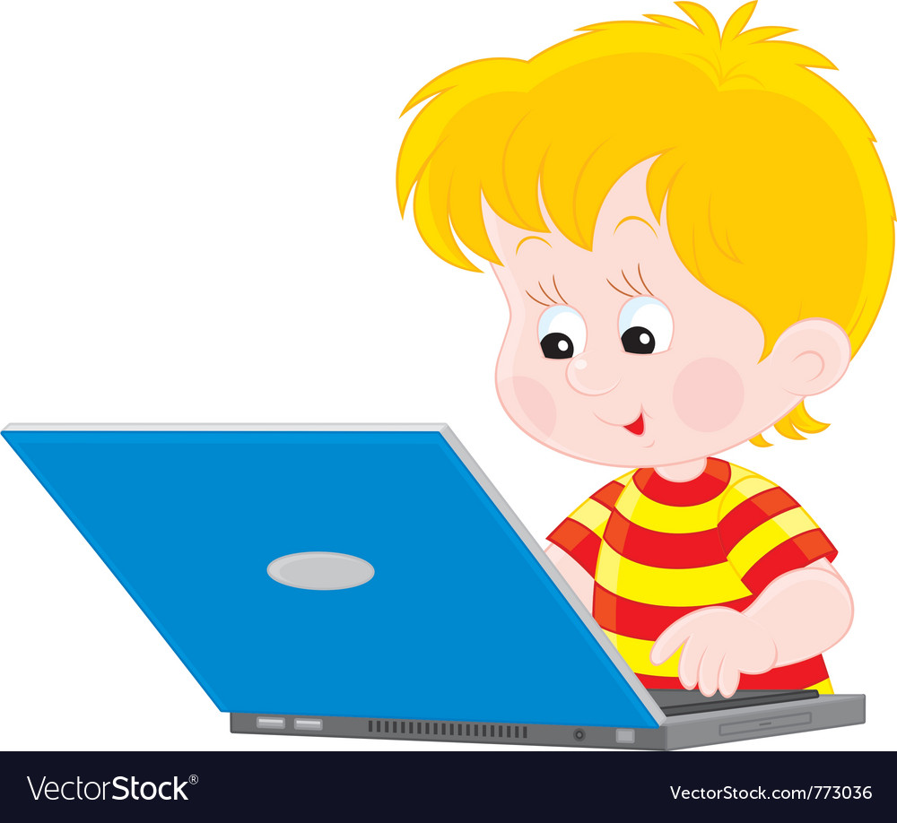 Boy with a laptop vector | Price: 3 Credit (USD $3)