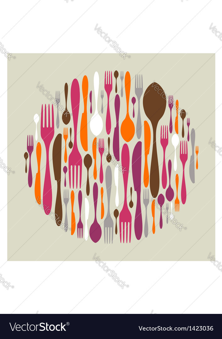 Circle shape made of cutlery icons vector | Price: 1 Credit (USD $1)