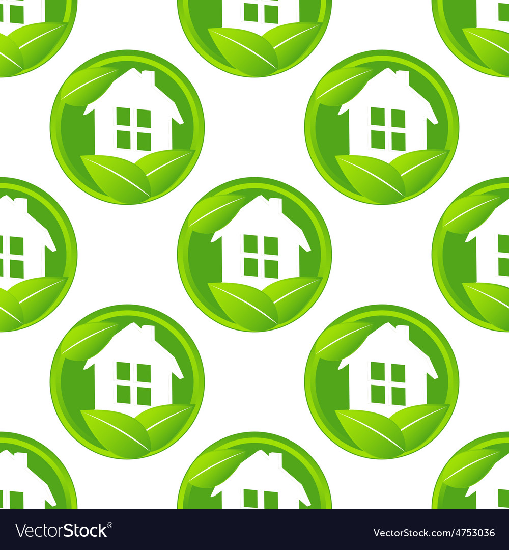 Eco house pattern vector | Price: 1 Credit (USD $1)