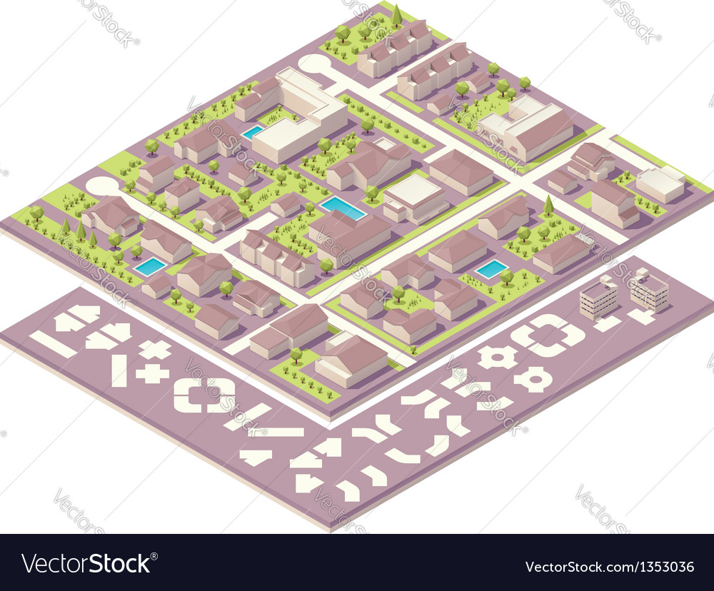 Isometric small town map creation kit vector | Price: 3 Credit (USD $3)