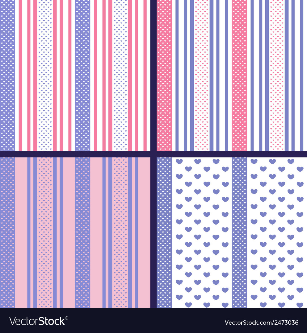 Pastel striped seamless patterns with hearts vector | Price: 1 Credit (USD $1)