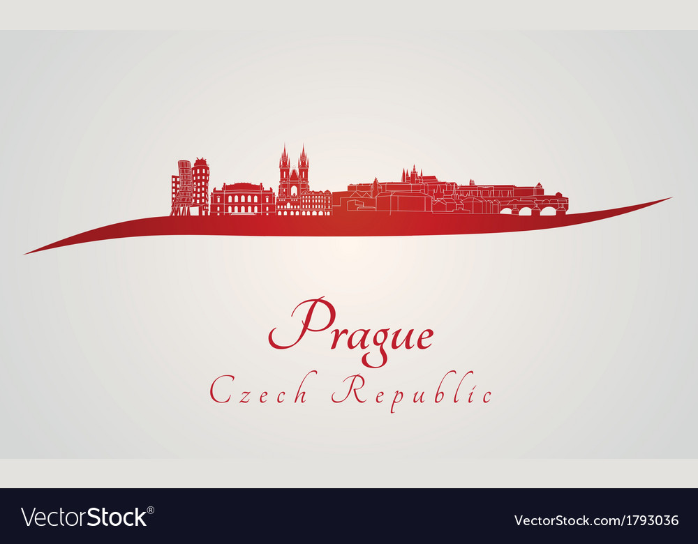 Prague skyline in red vector | Price: 1 Credit (USD $1)