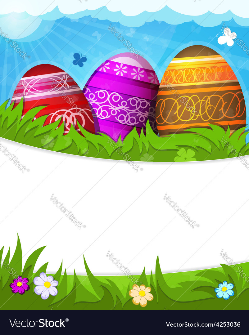 Red purple and brown painted easter eggs vector | Price: 3 Credit (USD $3)