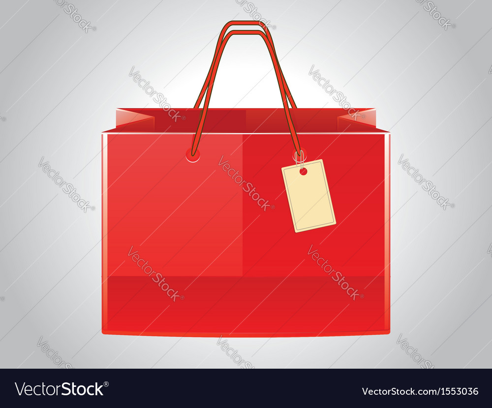 Red shopping bag with tag vector | Price: 1 Credit (USD $1)