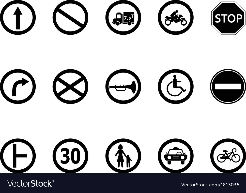 Road sign icons set vector | Price: 1 Credit (USD $1)