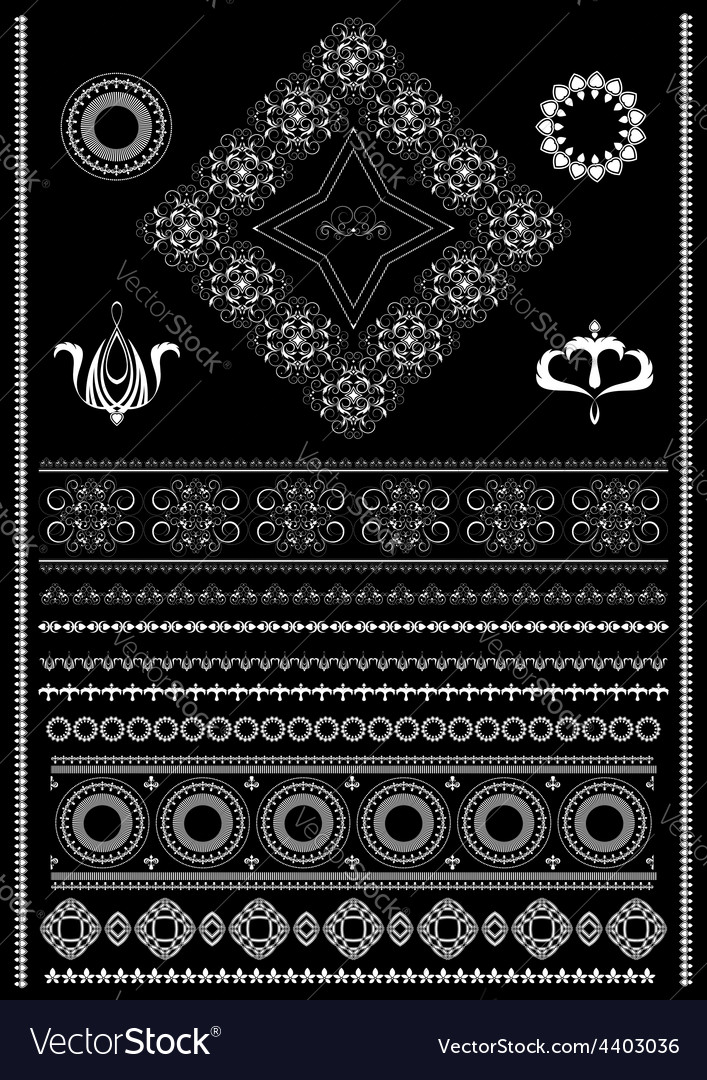 White decorative borders on a black background vector | Price: 1 Credit (USD $1)
