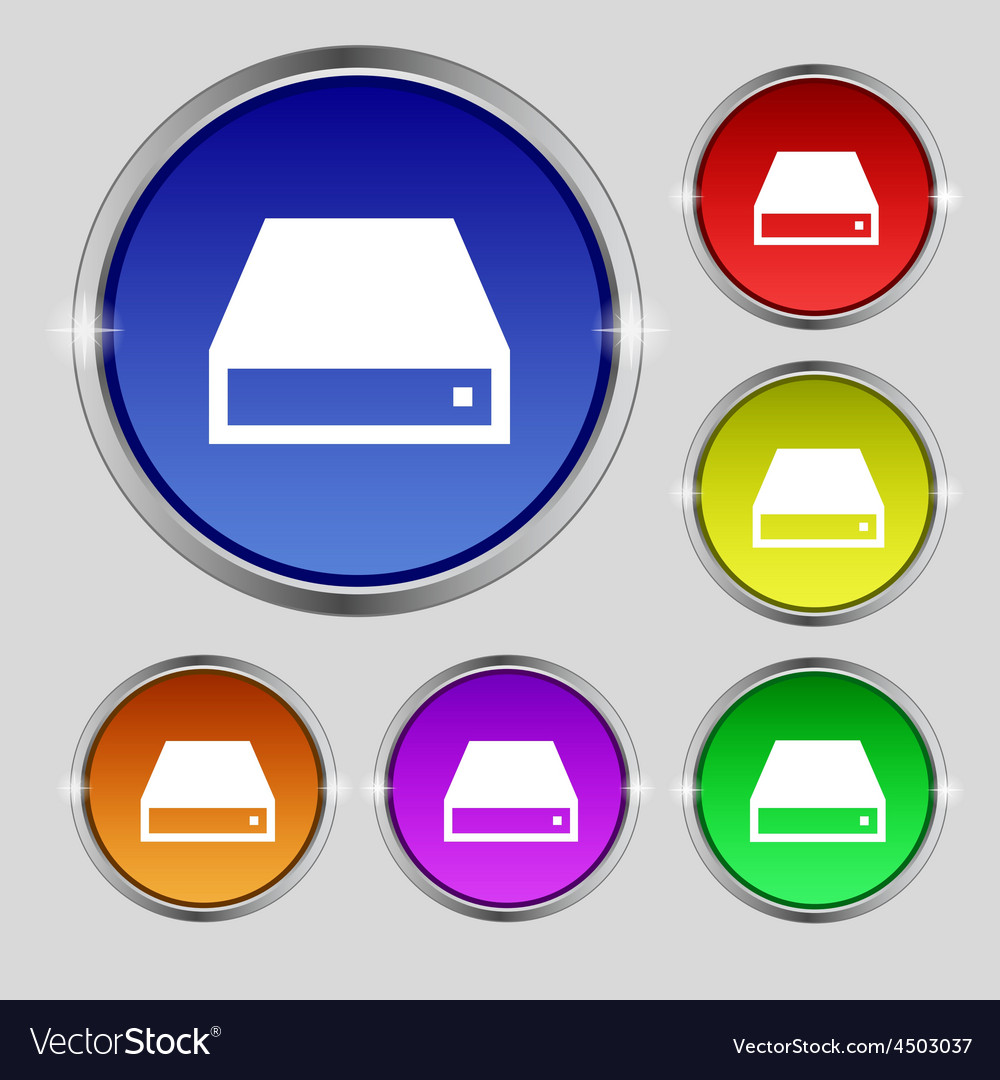 Cd-rom icon sign round symbol on bright colourful vector | Price: 1 Credit (USD $1)