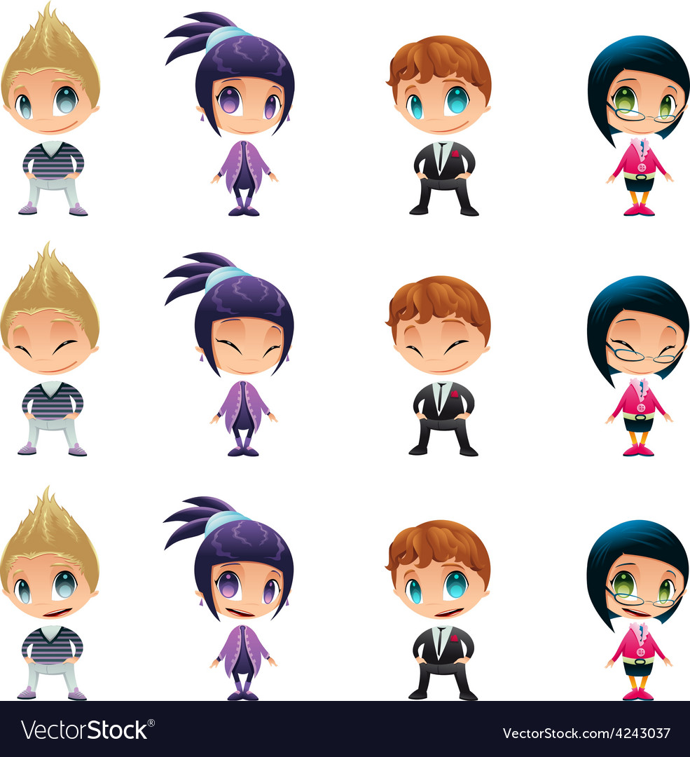 Characters with normal - blinked eyes - open mouth vector | Price: 1 Credit (USD $1)