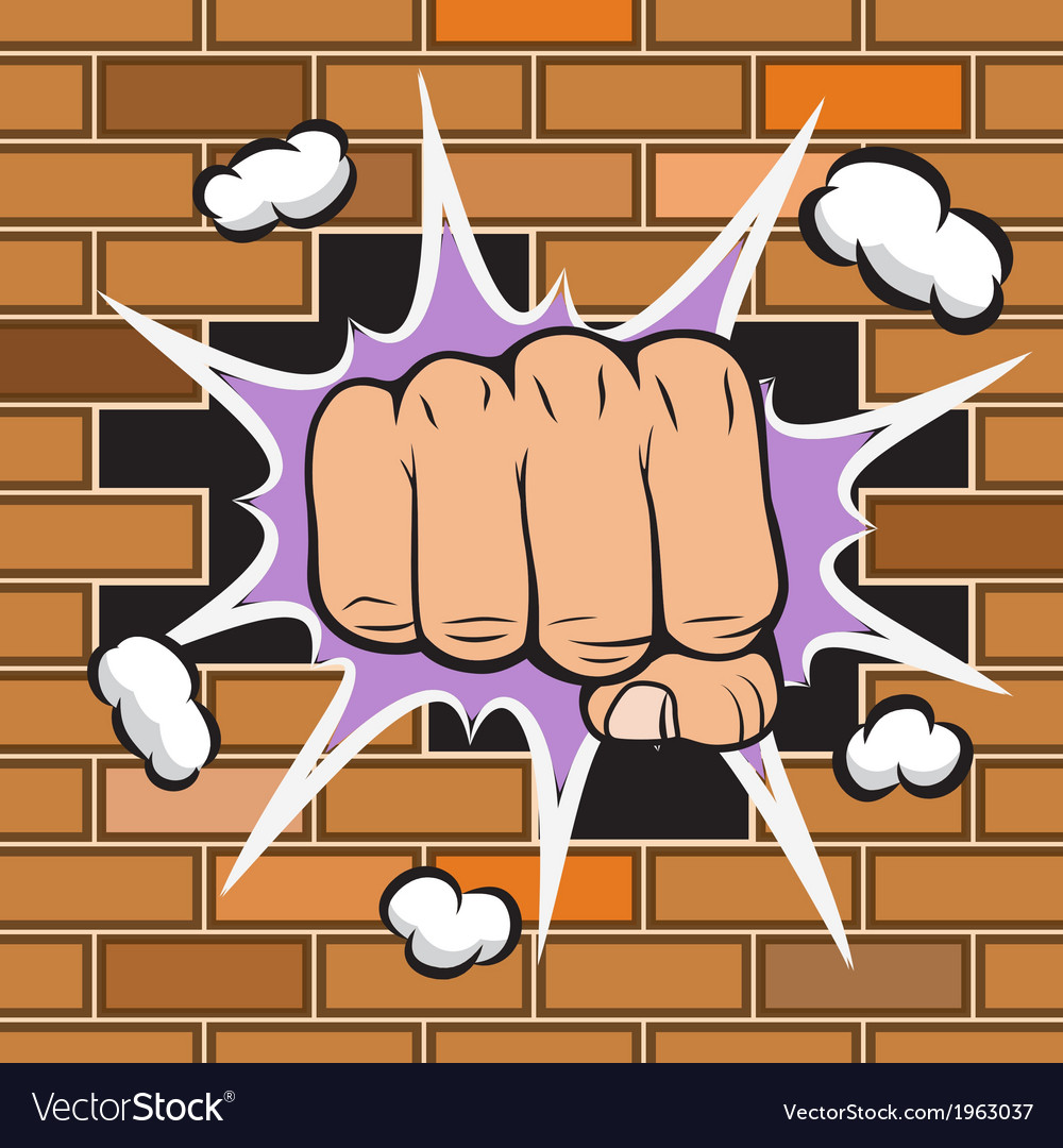 Clenched fist hit the wall emblem vector | Price: 1 Credit (USD $1)