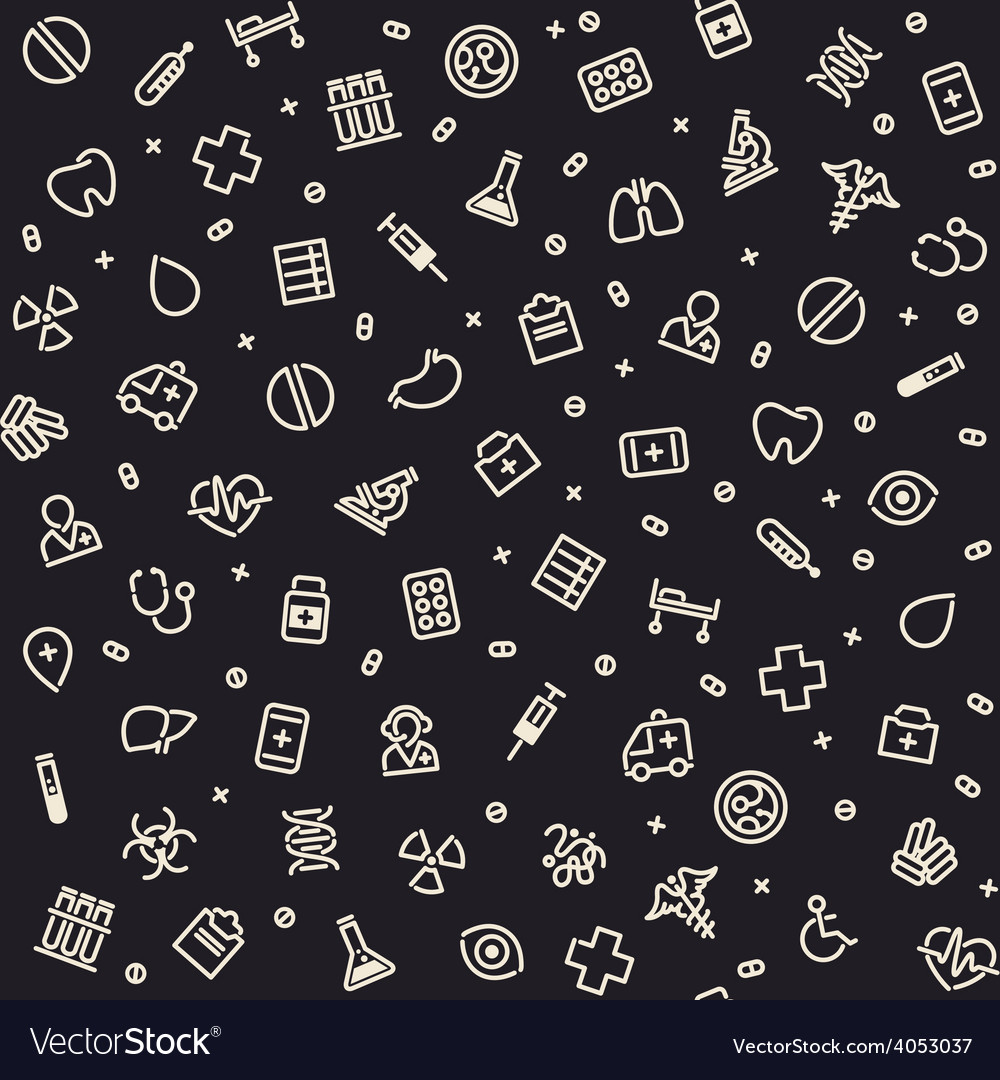 Dark seamless medical pattern vector | Price: 1 Credit (USD $1)