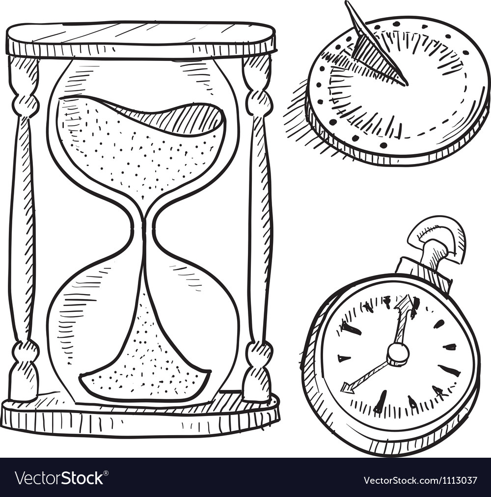 Doodle time hourglass pocketwatch clock sundial vector | Price: 1 Credit (USD $1)