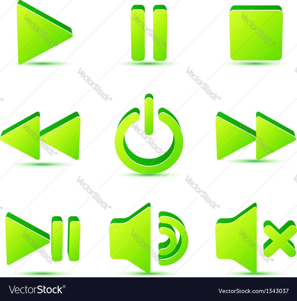 Green plastic navigation symbols set vector | Price: 1 Credit (USD $1)