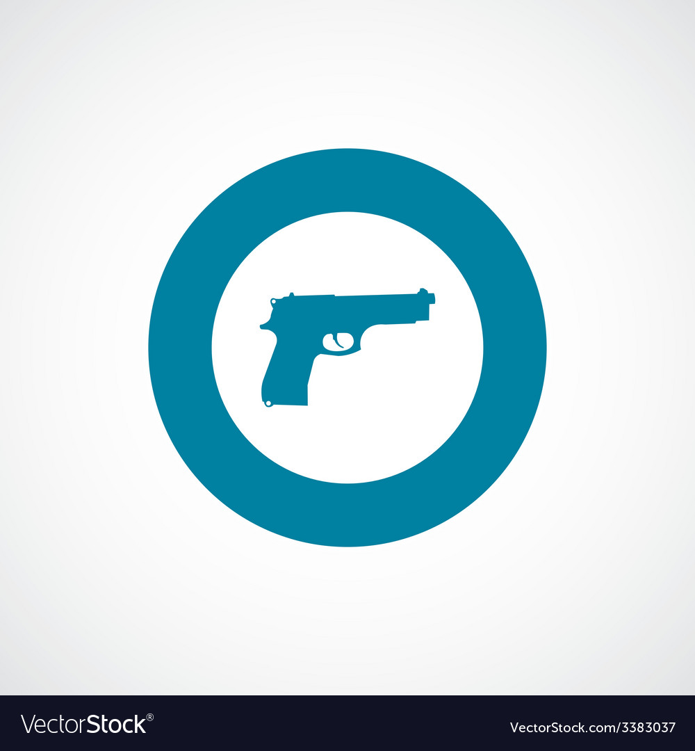Gun bold blue border circle icon vector | Price: 1 Credit (USD $1)