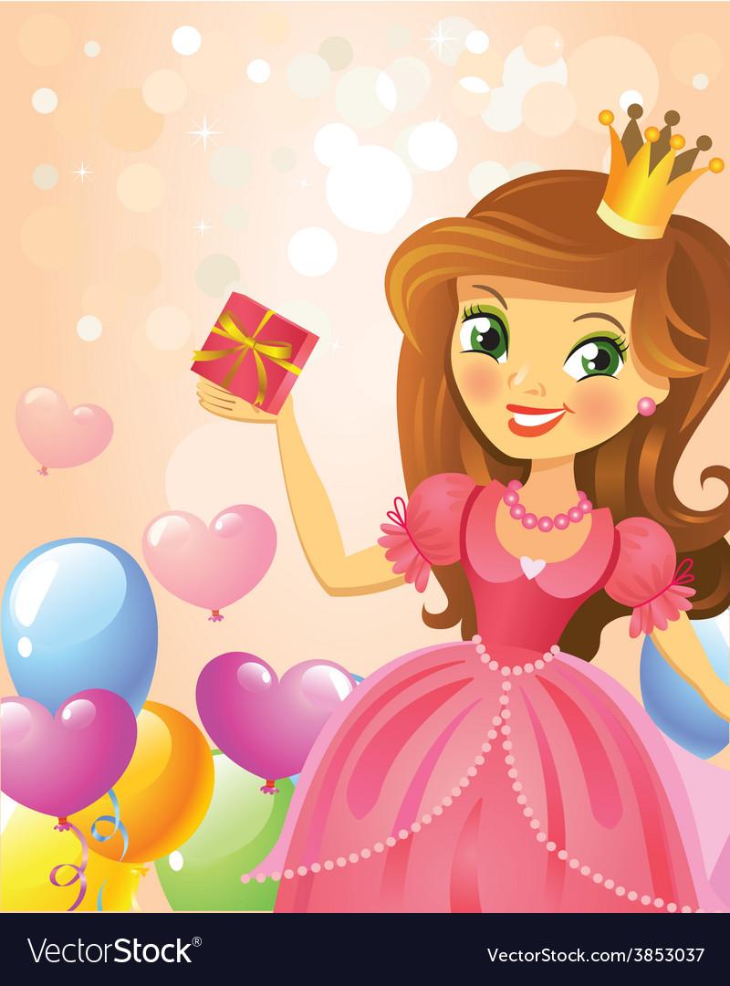 Happy birthday princess greeting card vector | Price: 3 Credit (USD $3)