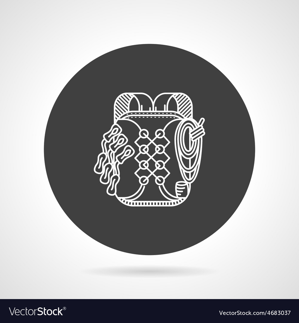 Hike backpack black round icon vector | Price: 1 Credit (USD $1)
