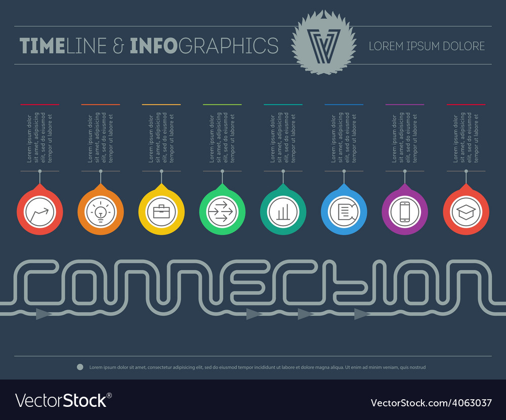 Infographic timeline about connection with 8 parts vector | Price: 1 Credit (USD $1)