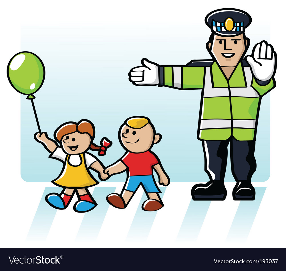 Kids crossing the road vector | Price: 1 Credit (USD $1)