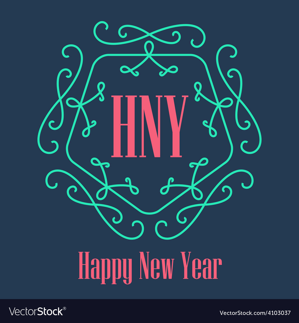 New year festive card monograms style lineart vector | Price: 1 Credit (USD $1)