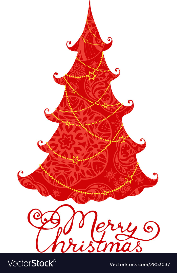Red christmas tree isolated on white background vector | Price: 1 Credit (USD $1)