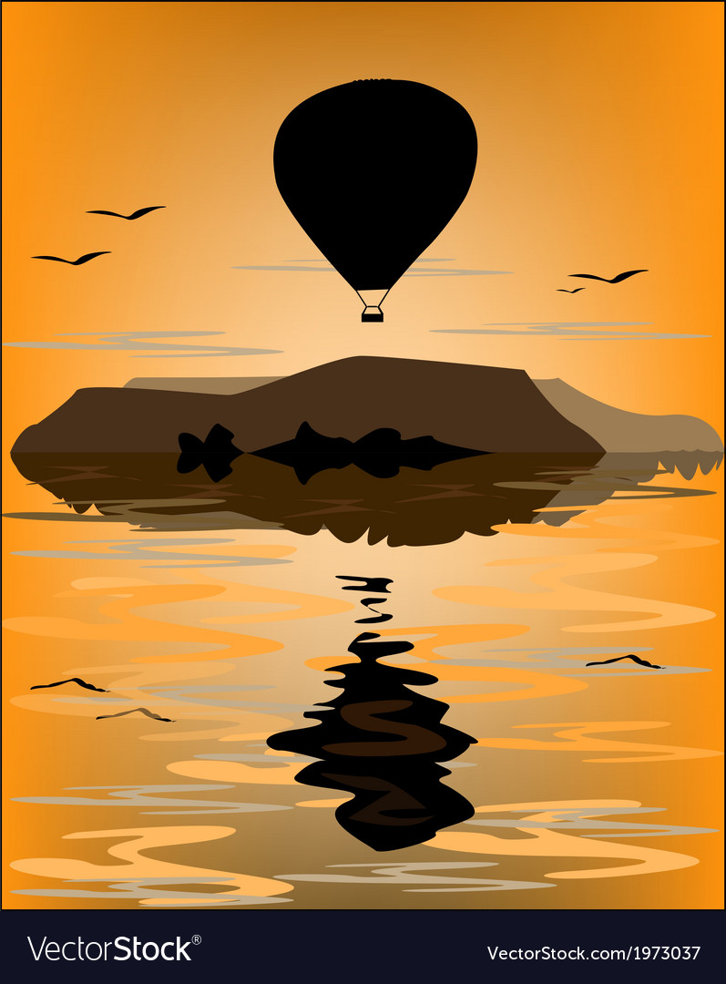 Reflection balloon at sea vector | Price: 1 Credit (USD $1)