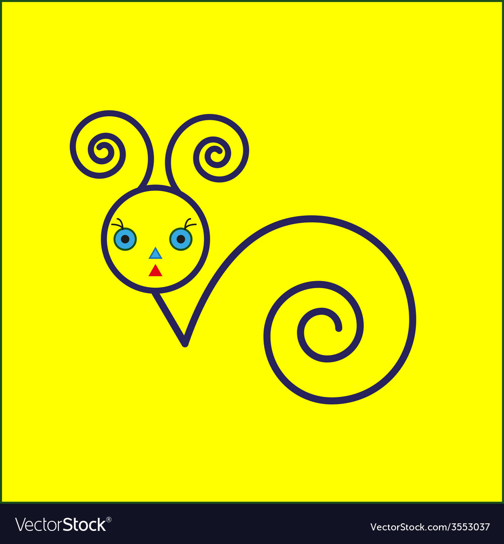 Snail icon on yellow background vector | Price: 1 Credit (USD $1)
